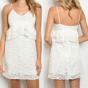 LILIANA White Lace Dress with lining